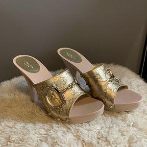 Gold Gucci heels